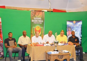 Members of the head table at Thursday's press conference. From left, Colts' captain Dave Causeway, Adrian George, GABA president Michael Singh, GABF president Nigel Hinds, Entertainer Kirk `Chow Pow'  Jardine and Pepsi Sonics captain Jason Squires.
