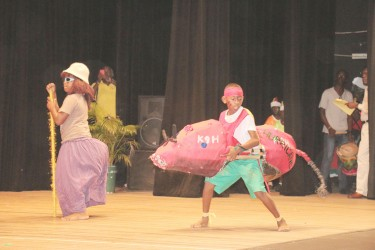 Students of CV Nunes Primary, Region Two depicting `Hurricane' at the National Cultural Centre on Wednesday. The annual contest was declared open by Education Minister Priya Manickchand.