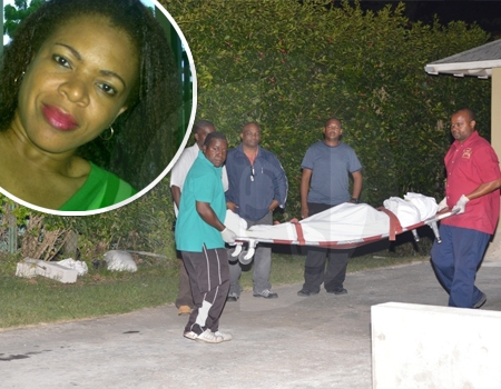 The body of Cheryl Bourne-Reifer, inset, being taken from the house under the watch of the police.