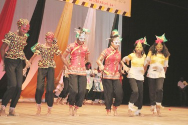 Three Miles Secondary School students performing `Cultural Explosion' in the Legends and Traditions Segment of the Children's Mashramani Contest at the National Cultural Centre on Wednesday.