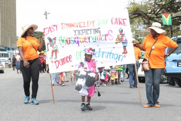 We are the masqueraders! East Ruimveldt Day Care Centre showcased 'Masqueraders Dance of Celebration' during a mini Mash parade today (Photo by Arian Browne)