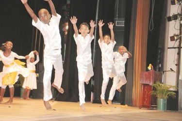 Zeeburg Secondary students in an energetic display  titled `Conquerors through divine glory' at the Children's Mashramani Contest at the National Cultural Centre on Wednesday.