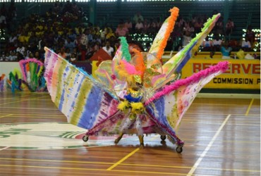 A student of Head Start Nursery School showcasing her costume under the Fantasy category at the Children's Mashramani Competition at the Cliff Anderson Sports Hall on Thursday. (GINA photo)