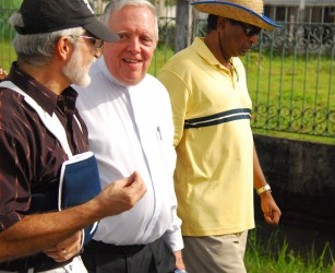 Francisco Olguin, Ambassador of Mexico (left), Bishop Francis Alleyne, OSB (middle) and Khemraj Ramjattan, MP participating in the Walk for Equality on Sunday, February 9, 2014.
