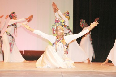 The Business School students doing `Nobody Like You' in the religious beliefs segment of the  Children's Mashramani contest on Wednesday at the National Cultural Centre.