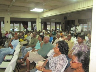 A section of the audience at the Watooka Guest House on Wednesday evening at a Town Hall meeting organized by the government on the anti-laundering bill.