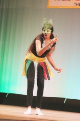 Stacia Budray of Cummings Lodge Secondary performing `Guyanese culture' in the dramatic poetry section of the Children's Mashramani contest on Monday at the National Cultural Centre.