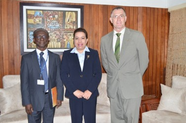 New PAHO/WHO Country Representative, Dr William Adu-Krow (left) with Minister of Foreign Affairs, Carolyn Rodrigues-Birkett and PAHO's Senior Advisor Adriannus Vlugman. The new representative on Monday presented his Letters of Credence to Rodrigues-Birkett. (GINA photo)
