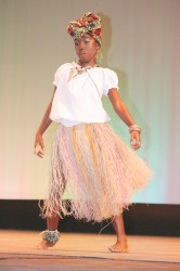 Jasmine Jones of Redeemer Primary doing `Is all a we thing' in the dramatic poetry section of the Children's Mashramani contest on Monday at the National Cultural Centre.
