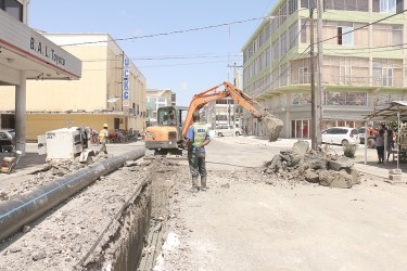 Work is continuing on the Georgetown Sewerage Rehabilitation Programme. It caused a buildup of traffic today on sections of Robb, Camp, Wellington and Regent streets since parts of Wellington and Charlotte streets were closed.