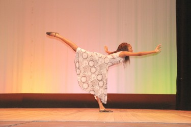 Alyssa Griffith of Tutorial High School in a social commentary dance at the Children's Mashramani contest on Wednesday at the National Cultural Centre.