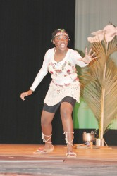 Senicia Brotherson of St Joseph's High performing `Night of the Kanaima in the dramatic poetry section of the Children's Mashramani contest on Monday at the National Cultural Centre.