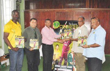 From left: GCB Chairman of selectors Rayon Griffith, GCB Marketing Manager Raj Singh, GCB Secretary Anand Sanasie, Director of Sports Neil Kumar and Acting President of the GCB Fizul Bacchus.