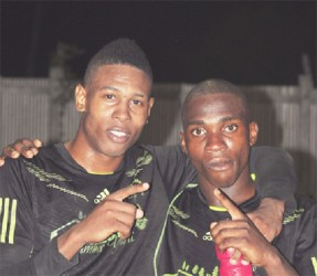 Den Amstel Goal scorers Jeffery Perreira (left) and Delon Lanfaman
