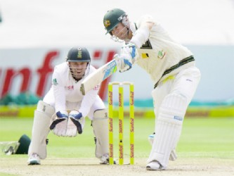 Australia captain Michael Clarke drives through the off side during his unbeaten century yesterday. (Photo courtesy of Cricket365)