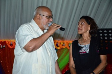 President Donald Ramotar and First Lady Deolatchmee Ramotar last evening hosted a Chowtal Samelaan and Holi Sangam at the Guyana International Conference Centre, Liliendaal to usher in the spring festival of Holi or Phagwah. In this GINA photo the President demonstrates his chowtal talent.
