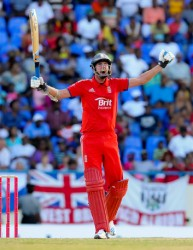 England batsman Stuart Broad celebrates victory winning the 2nd ODI v West Indies at Sir Vivian Richards Cricket Ground, North Sound, Antigua yesterday. (Photo courtesy of WICB media)