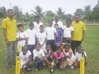 Helena Primary, winners of the Upper East Coast District with teachers Dyal Das (r) and Dennis Gomes (L) GCB coordinators Latchman Yadram and Daniel Richmond are also in the picture.