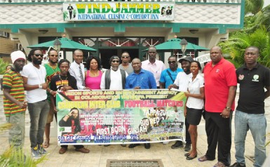 Vizion Sports and Entertainment Agency CEO Wally Fraser (centre) posing with members of the competing teams, sponsors, musical artistes and GFF following the conclusion of the press conference