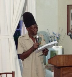 Ras Michael delivering his presentation (MHT photo)