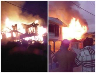 The houses ablaze