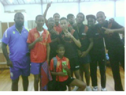 Guyana players post with the Suriname Table Tennis Association president Desire Hooghart at left.