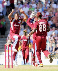 Leg spinner Samuel Badree gets his man as Luke Wright is stumped by wicketkeeper Denesh Ramdin (Photo courtesy of WICB media)