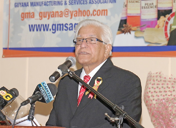 Former Trinidad and Tobago Prime Minister Basdeo Panday speaking at the GMSA event.