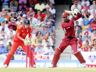 Marlon Samuels, in vintage Carl Hooper style, cuts a delivery for four. (WICB media photo)