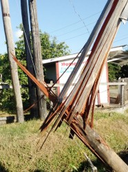 The damaged utility post at Goed Fortuin