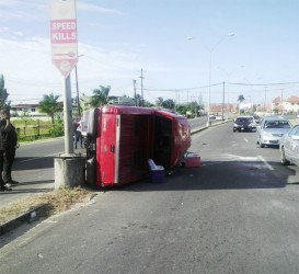 The Ford pickup truck rests on its side next to telling signage at Houston, East Bank Demerara. The vehicle remained in this position for close to an hour before it was towed away.