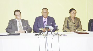 From left are Senior Counsel Seenath Jairam from Trinidad and Tobago; Barbadian attorney, Queen's Counsel, and Chairperson, Sir Richard Cheltenham and Queen's Counsel Jacqueline Samuels-Brown from Jamaica at the press conference. (GINA photo)