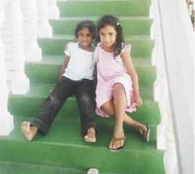 Cousins on the front steps