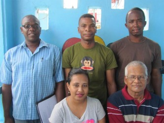 DAFO Executive Members: (L to R - Back row) Vice-Chairman Collin Caesar, Chairman Stanley Jacobs and Treasurer Adrian Bess. (L to R - Front) Women's Welfare officer Rohini Sooklall and Youth Development Officer Glenn Shivrattan