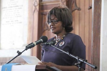 Justice Dawn Gregory delivering the eulogy at the funeral of former APNU MP Deborah Backer.