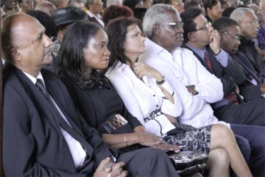 (From left to right) Chancellor of the Judiciary Carl Singh, Minister of Human Services Jennifer Webster,  Mr and Mrs Robeson Benn, Attorney General Anil Nandlall and former PNC leader Robert Corbin at the funeral of  Deborah Backer.