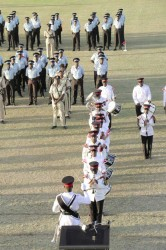 Beating a retreat yesterday at Police Commissioner Leroy Brumell's farewell parade.