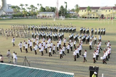 A panoramic view of Guyana Police Force officers marching at the farewell parade of Police Commissioner Leroy Brumell.