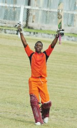 Shimron Hetmyer celebrates his 43-ball 125 (Orlando Charles photo)