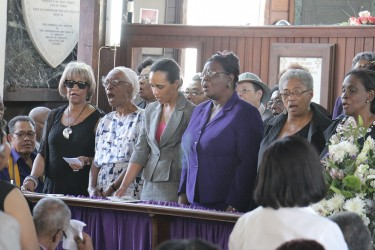 Past students of the Bishops' High School singing the school song. The late Deborah Backer was a former student of Bishops'