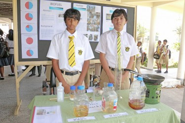 These QC students were showcasing biofuel from new and used vegetable oil