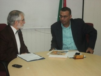 Minister of Natural Resources and the Environment, Robert Persaud (right)  yesterday met with Mexican Ambassador to Guyana, Francisco Olguin to discuss Minister of Natural Resources and the Environment, Robert Persaud (right)  yesterday met with Mexican Ambassador to Guyana, Francisco Olguin to discuss closer collaboration between Guyana and Mexico on environmental matters, GINA said. Present also at the meeting were Commissioner of the Protected Areas Commission, Damian Fernandes and other environmental officers. (GINA photo) between Guyana and Mexico on environmental matters, GINA said. Present also at the meeting were Commissioner of the Protected Areas Commission, Damian Fernandes and other environmental officers. (GINA photo)