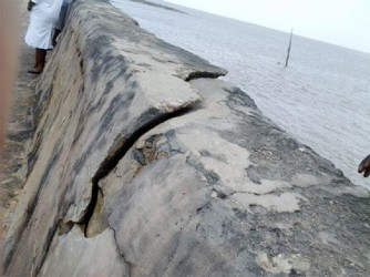Cracks at the surface of the seawall