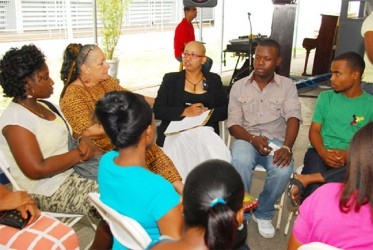Zenita Nicholson- SASOD (at centre in background) facilitating a group discussion (SASOD photo)