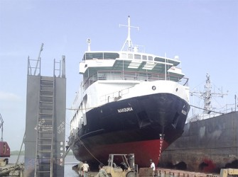 The MV Makouria in dry dock (T&HD photo)