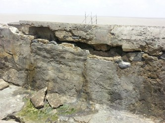 Water was seeping through this huge fissure yesterday at the Mosquito Hall sea defence.