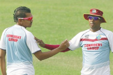 CHANGING OF THE GUARD! Samuel Badree, right has replaced compatriot Sunil Narine as the new T20 number one bowler. (Photo courtesy WICB media)