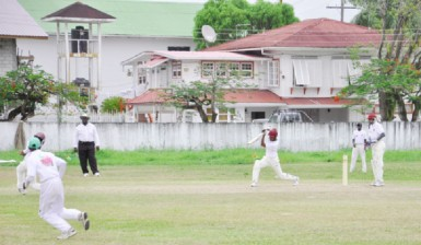 Christopher Campbell during his unbeaten 106 for the President's XI at DCC yesterday.