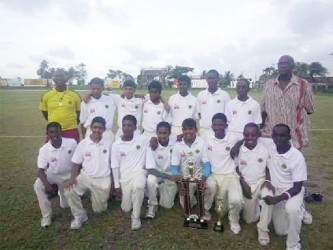 The victorious Demerara under-15 team with Coach Gavin Nedd to the far left and Manager Robert 'Pacer' Adonis to the right.
