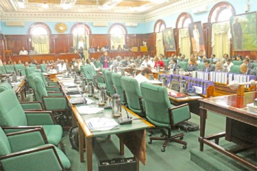 APNU MP was the only occupant of the opposition side while Minister of Education Priya Manickchand delivered her presentation